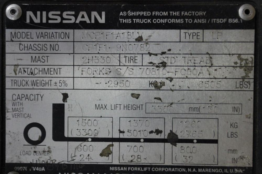 3,500 Lb Nissan 35 LP Forklift, Variation- MCP1F1A18LV