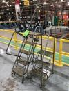 Lot of (1) 5-Step Ballymore Rolling Ladders, (1) 3-Step Cotterman Rolling Ladder