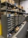 Maintenance- Row of (6) Ball Bearing Tooling Cabinets w/ Shelve Toppers and Contents Including Large Assortment of Hydraulic Valves, O-Rings, Switched and Bearings