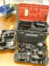 Lot of Craftsman Drills, Orbital Drill Saw, Reciprocating Saw, Flash Light, Battery Chargers, Portable Tool Box