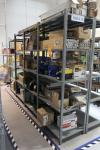 Row of (4) Shop Shelving Units w/ Contents Including Assorted GE Fluorescent Lamps, Recessed Light Kits, Safety Chain, Filters, Maintenance Supplies (Tool Crib)
