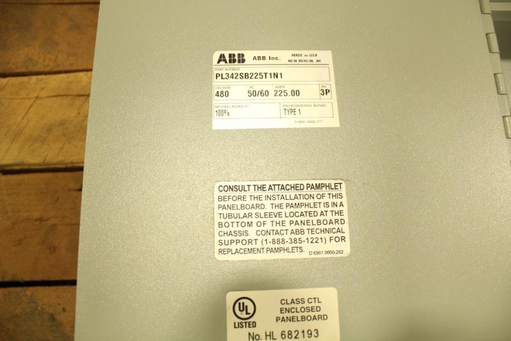 Lot 498 Of 638 Abb Pl342sb225t1n1 225 Amp Electrical Breaker Panel 480 Volt 50 60 Hertz 3 Phase With Sace Tmax Main New Location 7105 Jenny