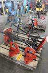 Lot of (2) Ridgid 460 Tri Stand Pipe Vises w/ (2) Steel Dragon SDT Pipe Vise and (2) Adjustable Pipe Stands