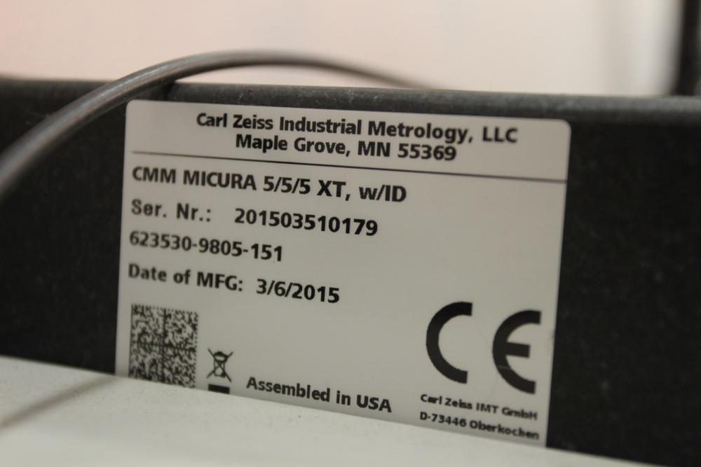 2015 Zeiss Micura 5/5/5 XT w/ ID CMM, s/n 201503510179, (Installed