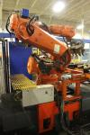 2011 ABB IRB6640-180/2.55 6-Axis Robot, s/n 66-80389, 180 kg Payload Capacity, 2.55m Reach, ABBB IRC5 M2004 Control, Pendant Controller, (This robot is currently set up in a cell loading the Mazak Multiplex machines in lot 2, 3, 4, and 5)