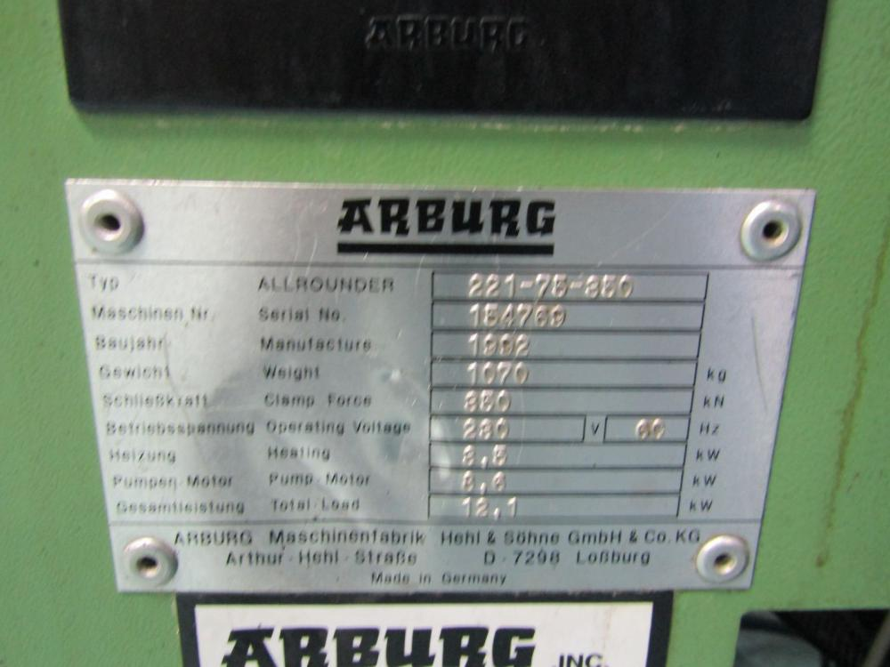 Arburg Model Allrounder 221-75-350 Injection Molding Press